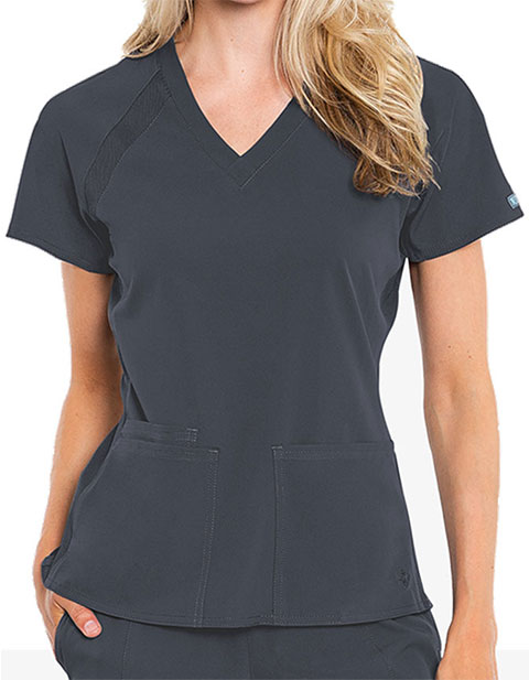 Med Couture Peaches Women's Raglan Solid Scrub Top