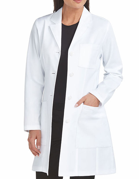 Med Couture Boutique Women's Tailored Empire Mid Length Lab Coat