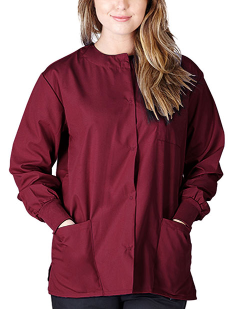 Natural Uniforms Women Snap Button Warm Up Jacket