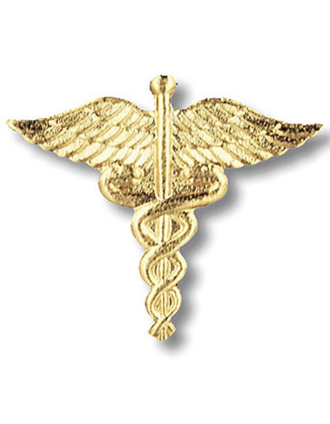 Prestige Caduceus Emblem Pin in Gold