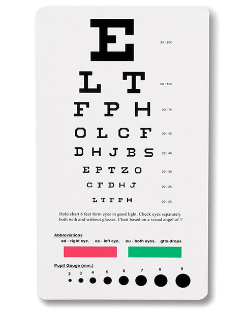 Prestige Snellen Pocket Eye Chart