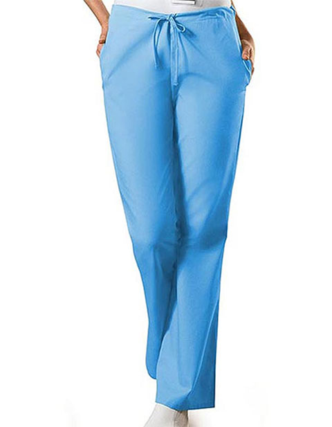 PU Made To Order Women's Drawstring Low Rise Flare Leg Scrub Pants
