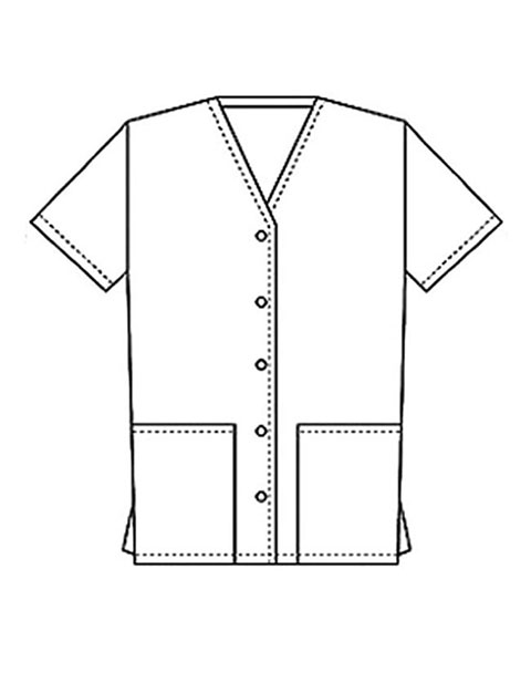 PU Made To Order Unisex Two Pocket Button Front Solid Nursing Scrub Top