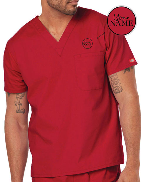 Unisex V-Neck Nursing Scrub Top