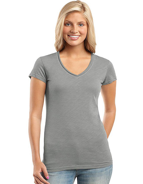 Sanmar District Threads Womens Slub V-Neck Tee Shirt