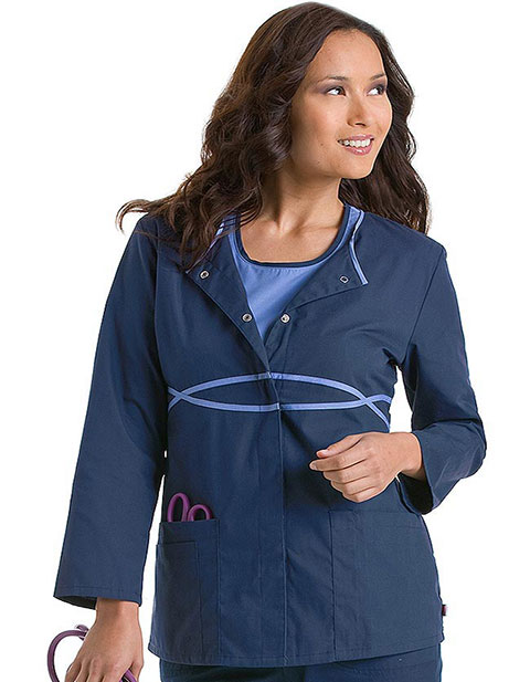 Urbane Womens Three Pocket Infinity Warm-Up Medical Scrub Jacket