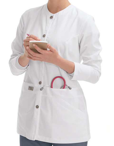 Urbane Womens White Four Pocket Medical Scrub Jacket