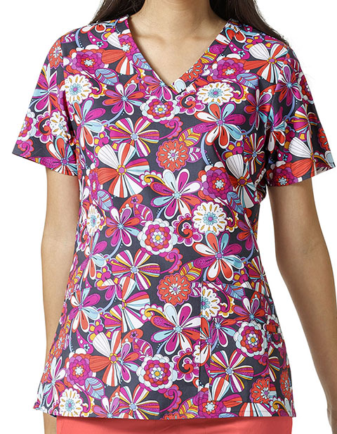 Vera Bradley Signature Women's MAYA V-Neck Flower Power Print Top