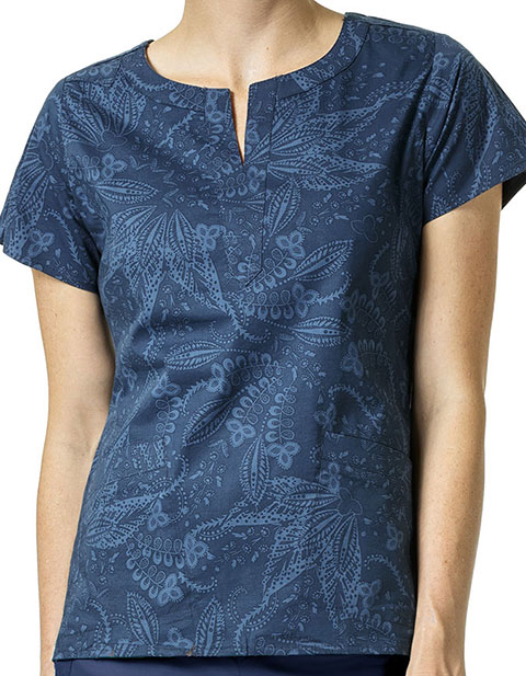 Vera Bradley Signature Women's Linda Notch Neck Batik Leaves Tonal Print Top