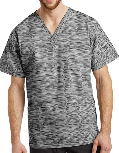 Whitecross FIT Men's V-Neck My Grey Space Print Scrub Top