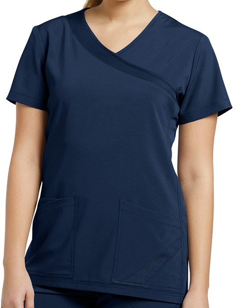 White Cross Fit Women's Mock Wrap Solid Scrub Top