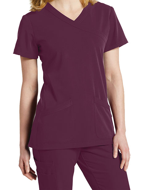 Whitecross Marvella Women's Mock Wrap Solid Scrubs Top