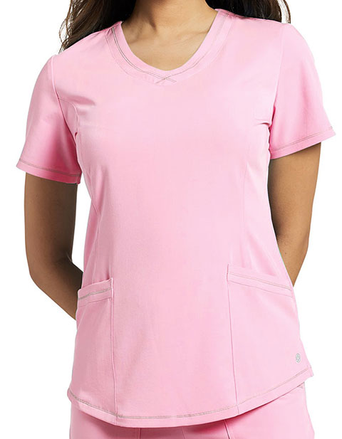 Whitecross Marvella Women's Round V-neck Stitched Solid Scrub Top