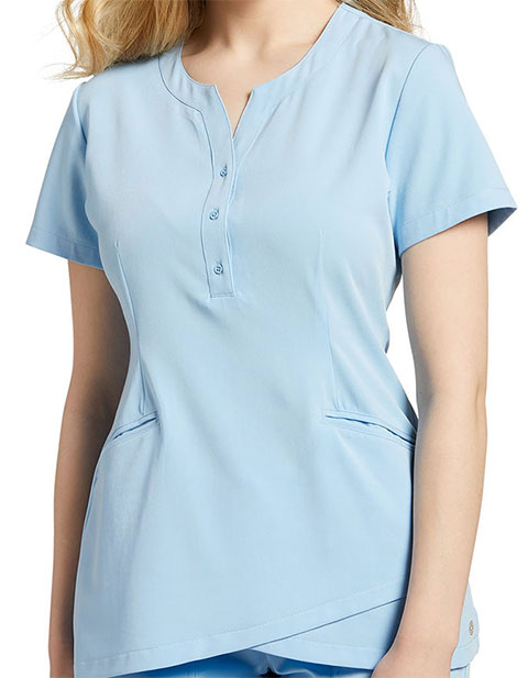 White Cross Marvella Women's Henley Button Neckline Solid Scrub Top
