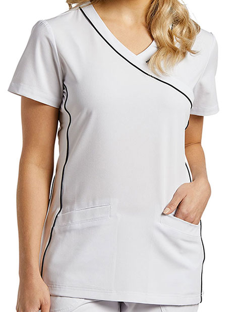 White Cross Marvella Women's Contrast Piping Solid Scrub Top