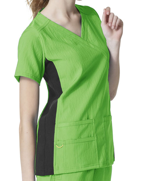 Wink Scrubs Women's Mock Wrap Knit Panel Solid Scrub Top