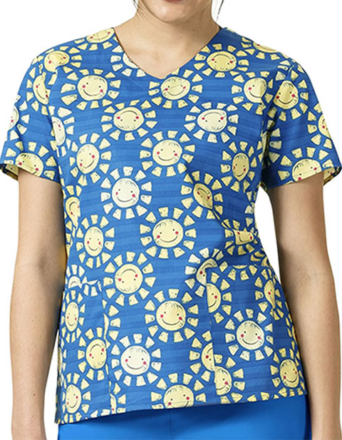 Zoe and Chloe Women's Sunshine Print V-neck Top
