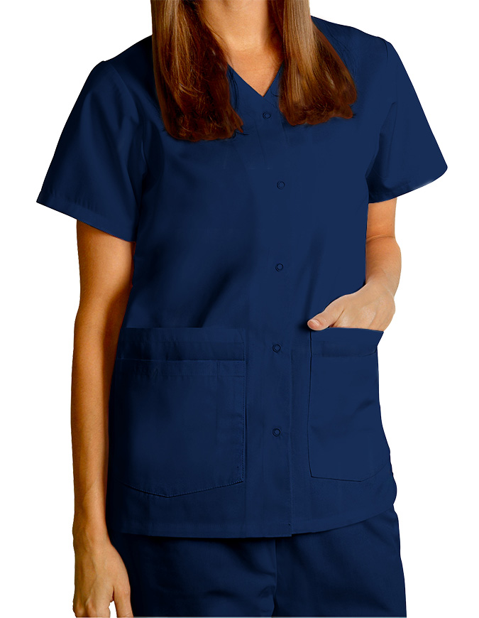 NWT ADAR Brand Double Pocket Snap Front Scrub Tops
