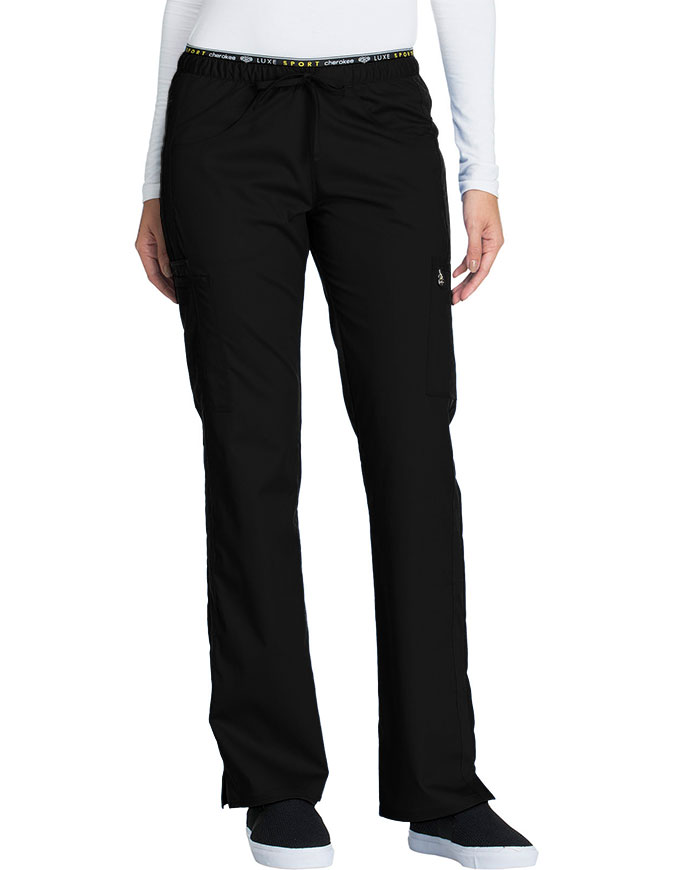 Cherokee Luxe Sport CK003P Women/'s PETITE Low Rise Straight Leg Pull-on Pant